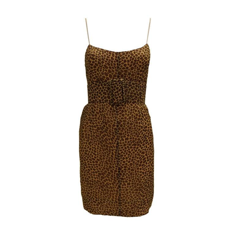 1960's Trigere Giraffe Print Silk Cocktail Dress 1