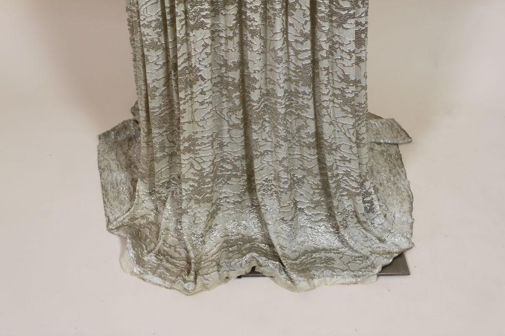 1930's Metallic Silk Silver Lamé Pleated Gown 10