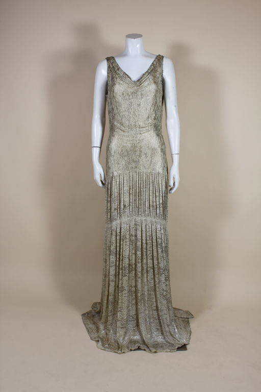 1930's Metallic Silk Silver Lamé Pleated Gown 2