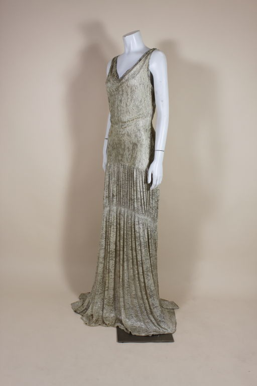 1930's Metallic Silk Silver Lamé Pleated Gown 3