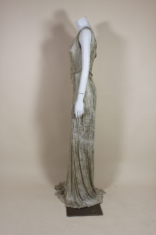 1930's Metallic Silk Silver Lamé Pleated Gown 4