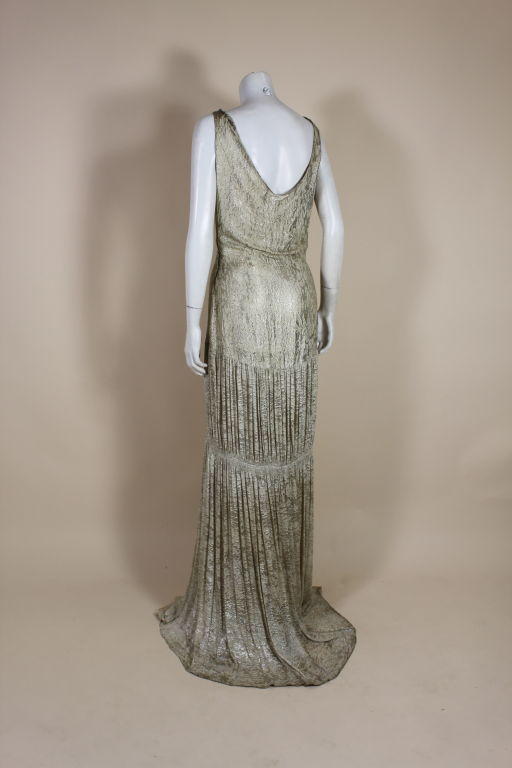 1930's Metallic Silk Silver Lamé Pleated Gown 5