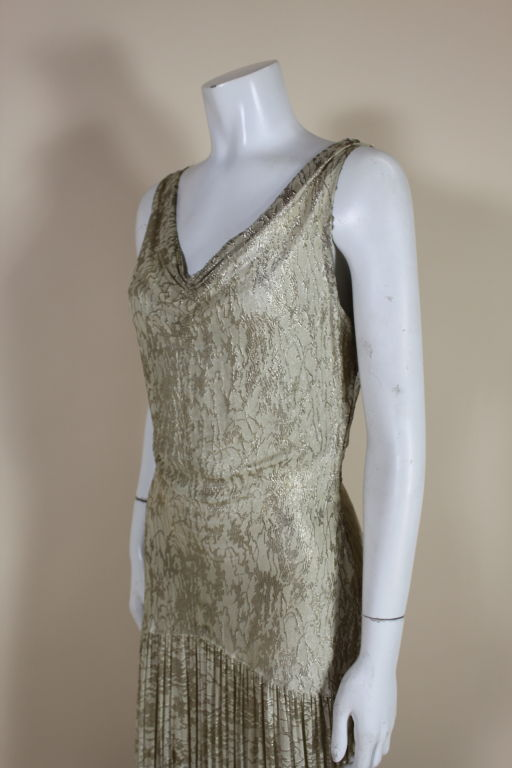 1930's Metallic Silk Silver Lamé Pleated Gown 6