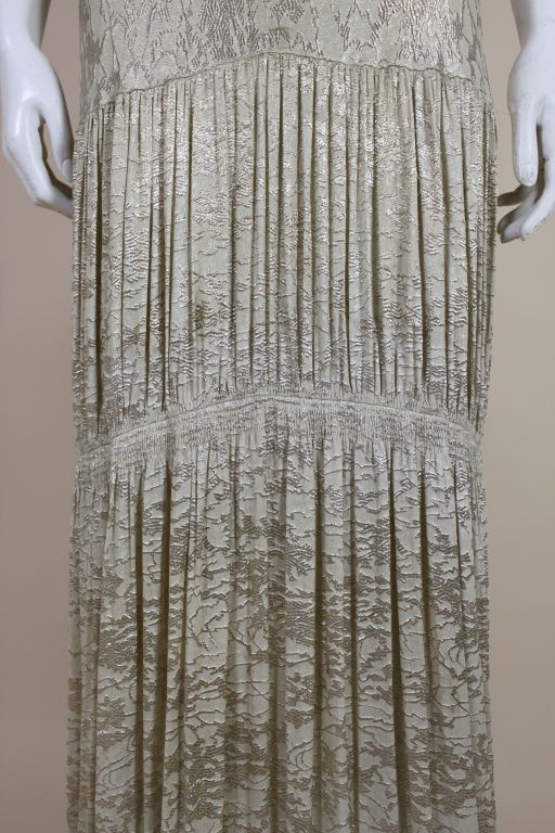 1930's Metallic Silk Silver Lamé Pleated Gown 7