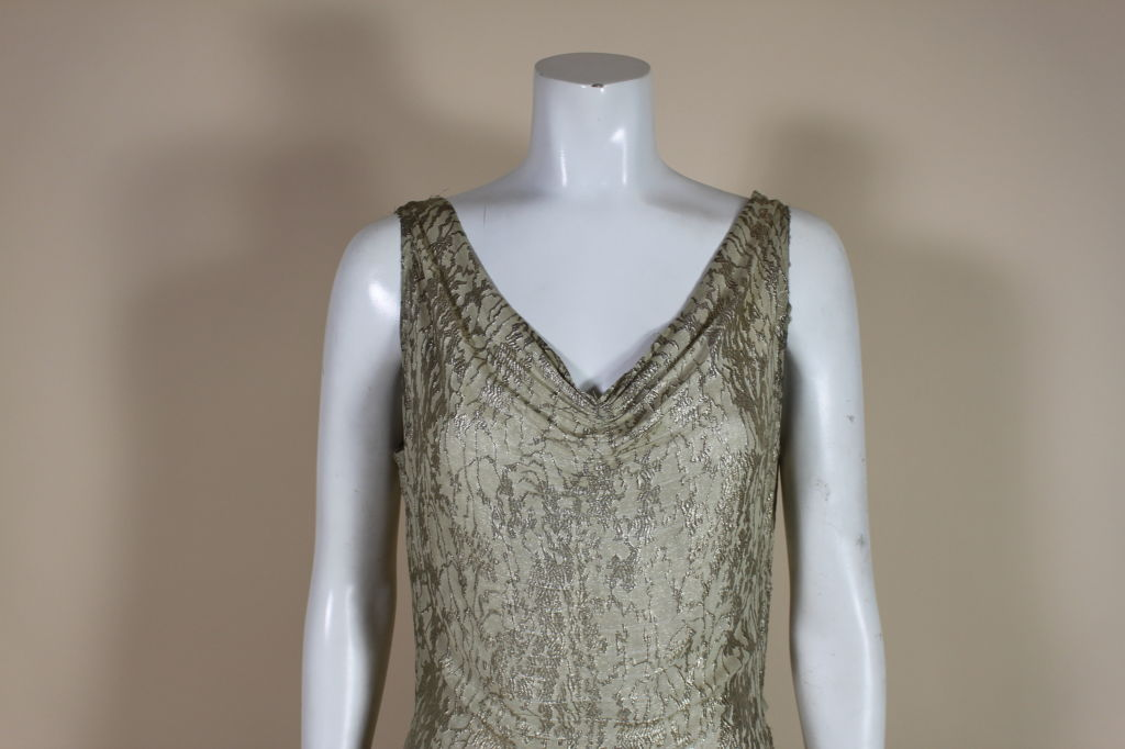 1930's Metallic Silk Silver Lamé Pleated Gown 8