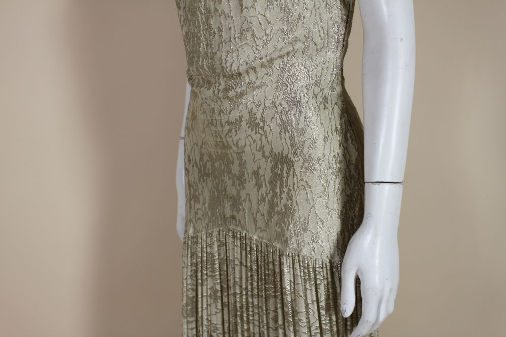 1930's Metallic Silk Silver Lamé Pleated Gown 9