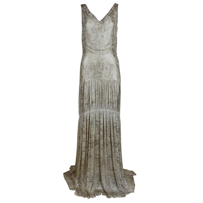1930's Metallic Silk Silver Lamé Pleated Gown 1