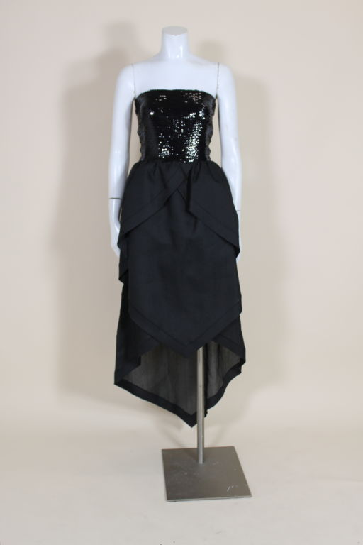 1980's Pierre Cardin Sequin and Organdy Party Dress 2