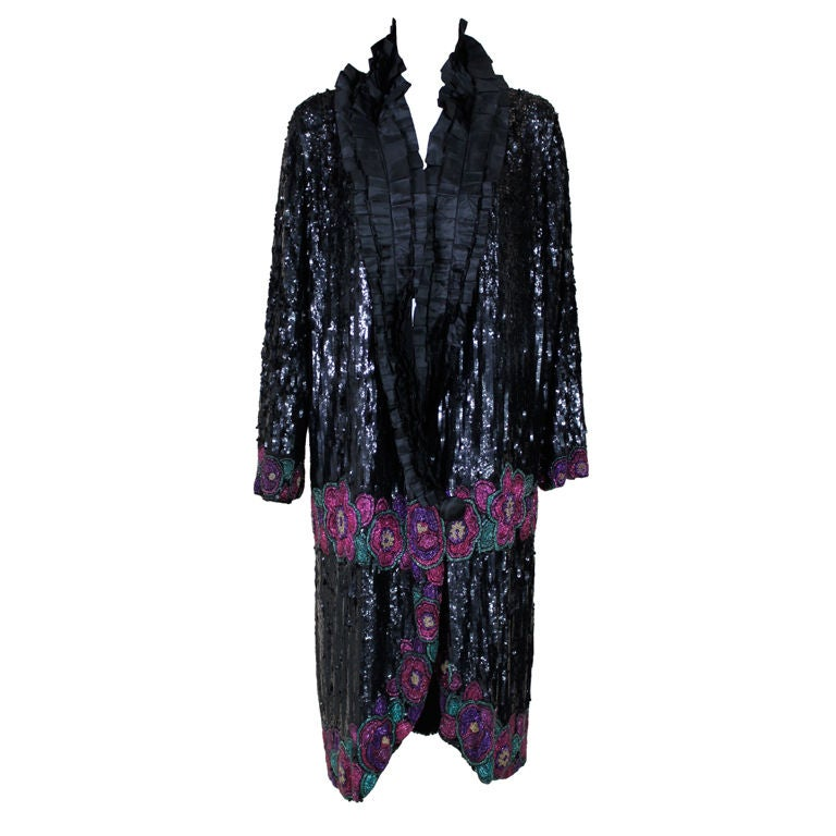 1920's French Deco Solid Sequin & Beaded Coat 1