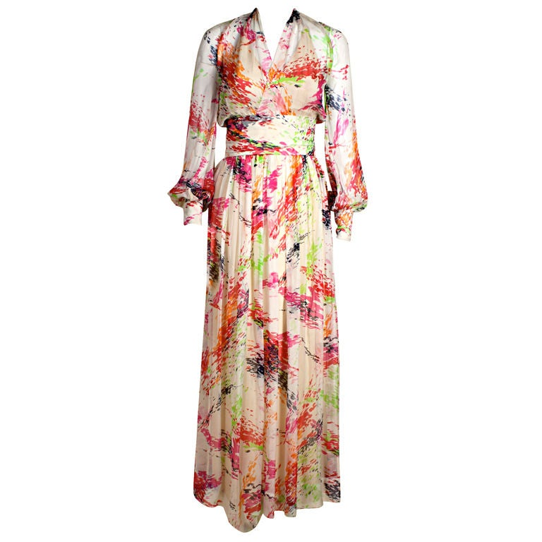1970 39 s christian dior couture painterly chiffon gown at for Dior couture dress price