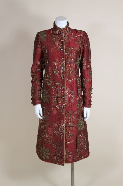 De la Renta Embroidered Silk Coat 2