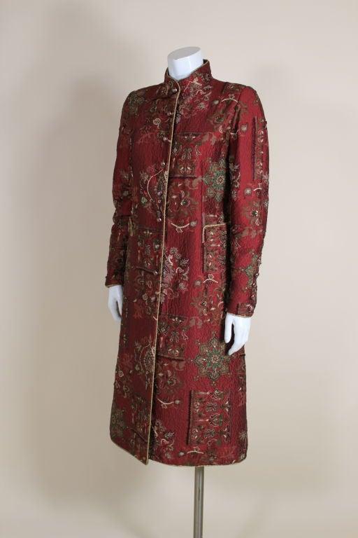 De la Renta Embroidered Silk Coat 3