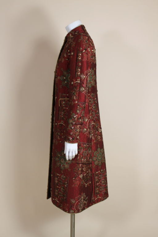 De la Renta Embroidered Silk Coat 4