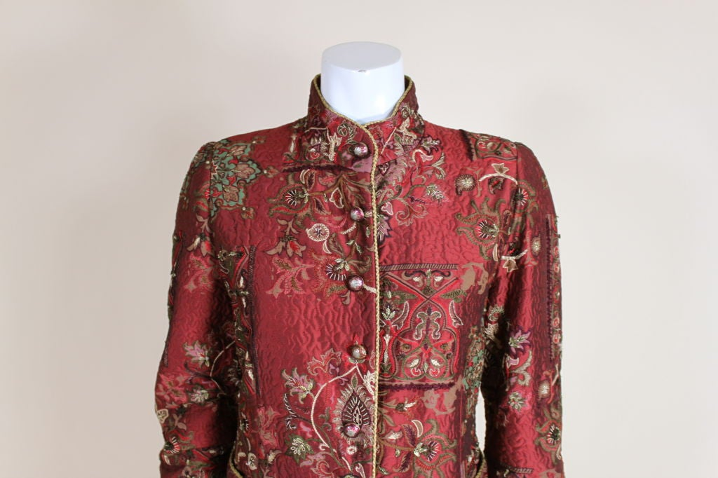 De la Renta Embroidered Silk Coat 6