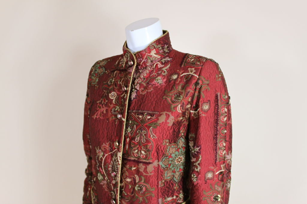 De la Renta Embroidered Silk Coat 7