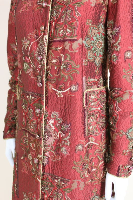 De la Renta Embroidered Silk Coat 8