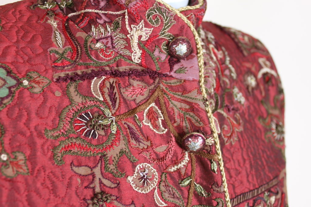 De la Renta Embroidered Silk Coat 9