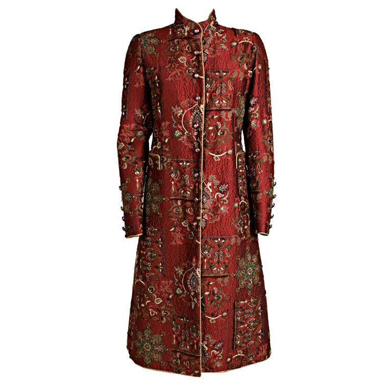 De la Renta Embroidered Silk Coat 1