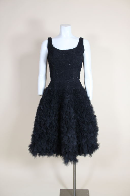 1950's Samuel Winston Embroidered Tulle Party Dress 2