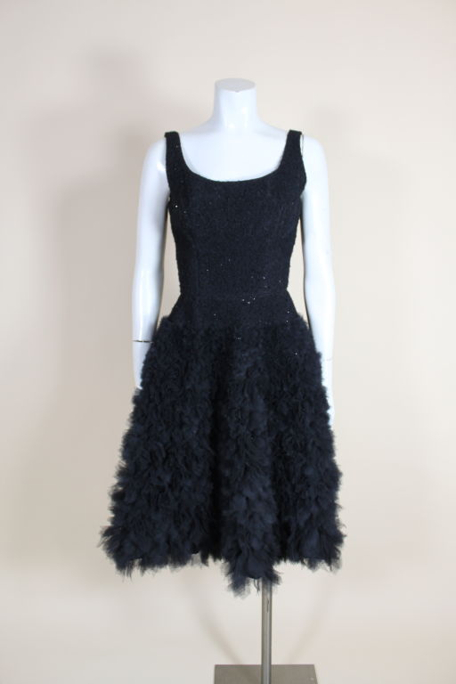 1950's Samuel Winston Embroidered Tulle Party Dress 3