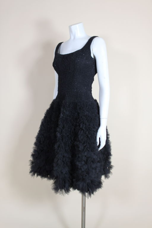 1950's Samuel Winston Embroidered Tulle Party Dress 4