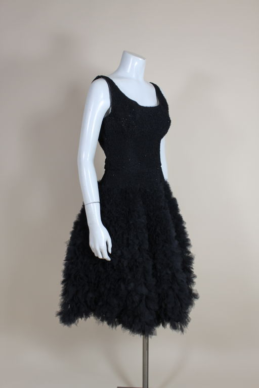 1950's Samuel Winston Embroidered Tulle Party Dress 5