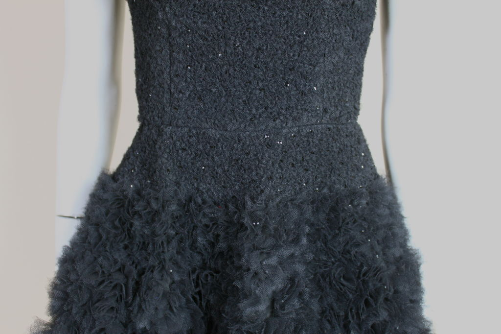 1950's Samuel Winston Embroidered Tulle Party Dress 9