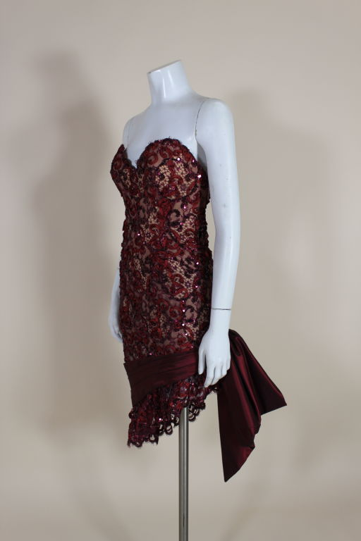 1980's Bob Mackie Attribute Sequin Lace Cocktail Dress 3