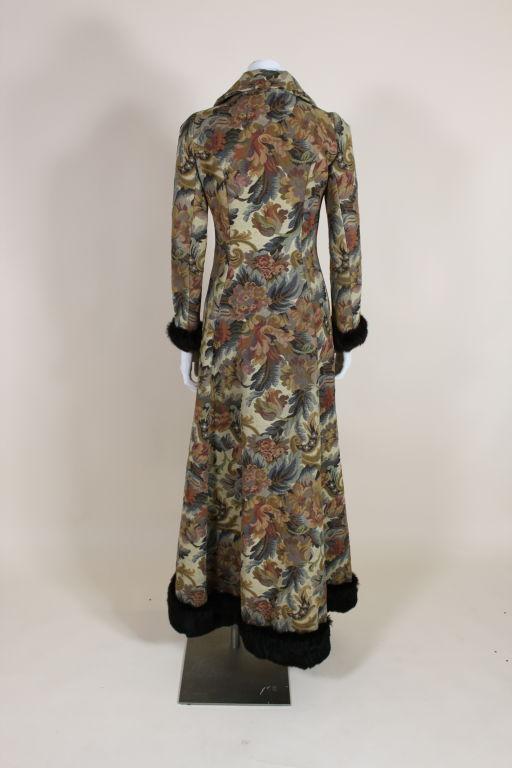 1970 S Biba Fur Trimmed Floral Tapestry Coat At 1stdibs