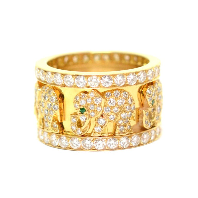 cartier emerald yellow gold elephant ring at 1stdibs