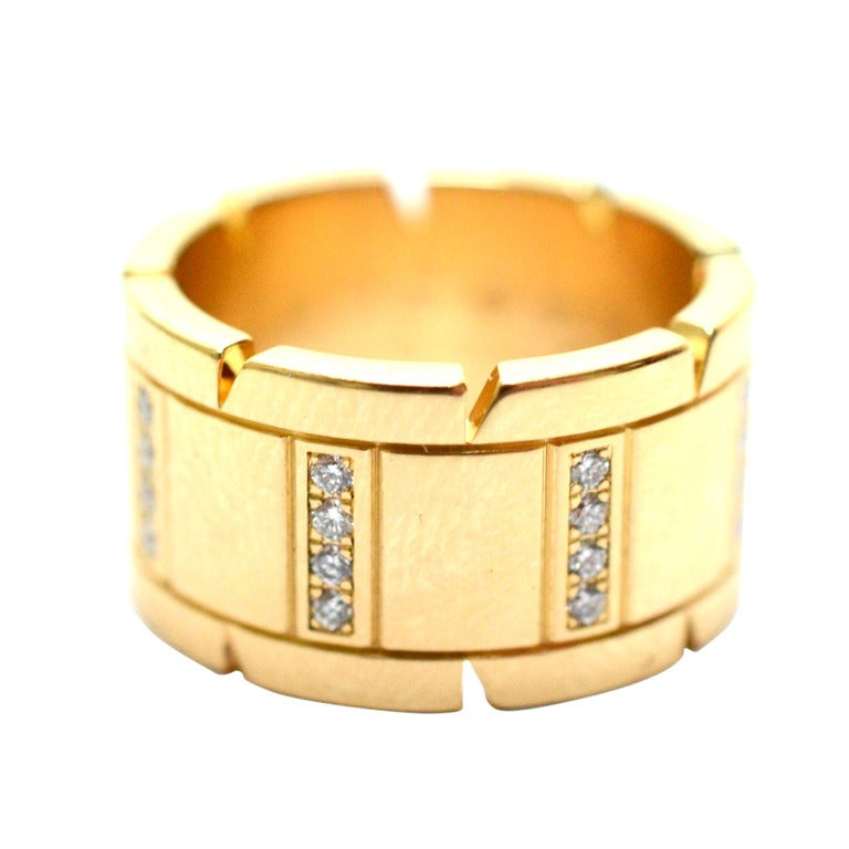 cartier diamond yellow gold tank francaise women 39 s ring at. Black Bedroom Furniture Sets. Home Design Ideas