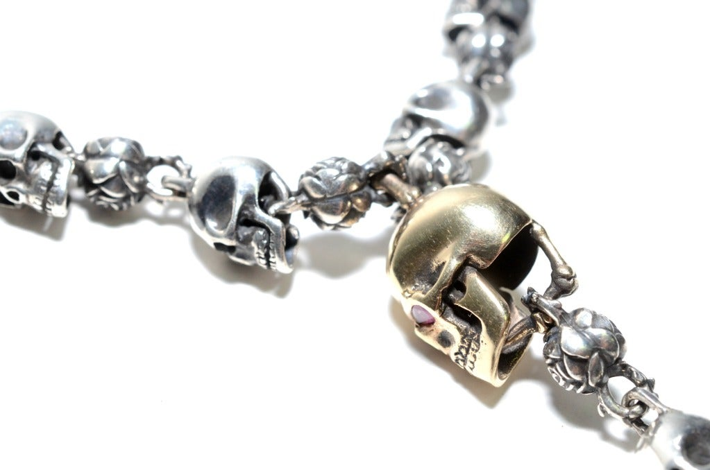 The Great Frog Rose And Skull Rosary Yellow Gold And