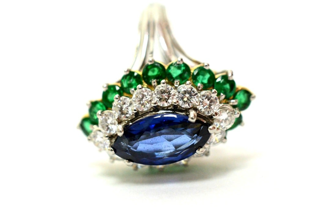 Cartier Sapphire Daimond And Emerald Ring Platinum & Yellow Gold Ring Circa 1960's Orginal Paper Work. 2