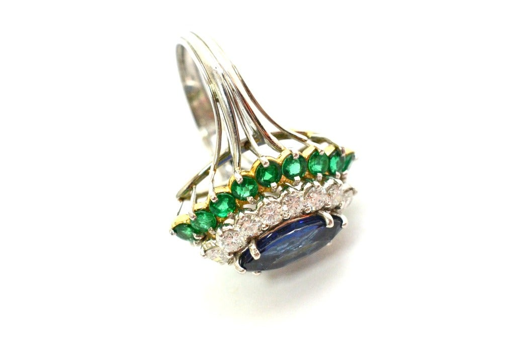 Cartier Sapphire Daimond And Emerald Ring Platinum & Yellow Gold Ring Circa 1960's Orginal Paper Work. 3
