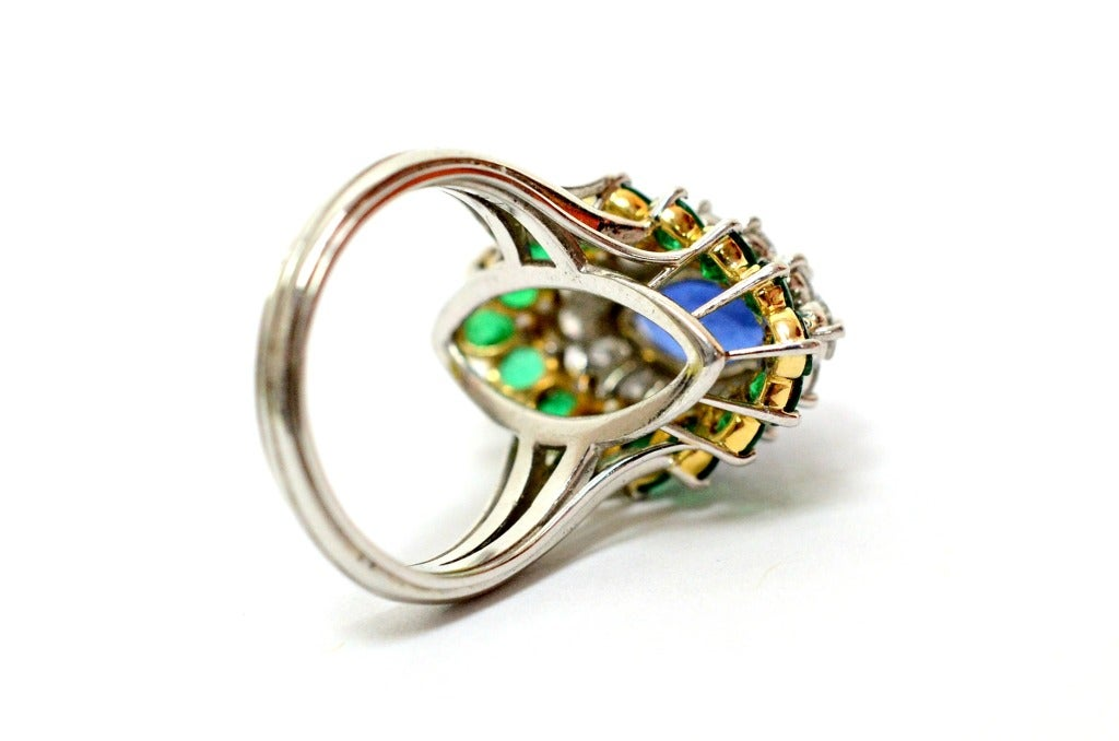 Cartier Sapphire Daimond And Emerald Ring Platinum & Yellow Gold Ring Circa 1960's Orginal Paper Work. 4
