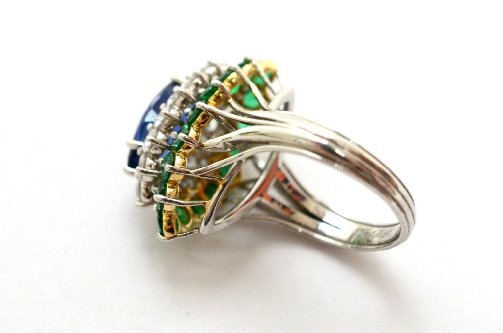 Cartier Sapphire Daimond And Emerald Ring Platinum & Yellow Gold Ring Circa 1960's Orginal Paper Work. 5