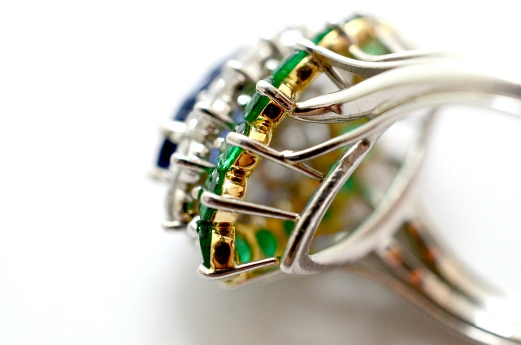 Cartier Sapphire Daimond And Emerald Ring Platinum & Yellow Gold Ring Circa 1960's Orginal Paper Work. 6