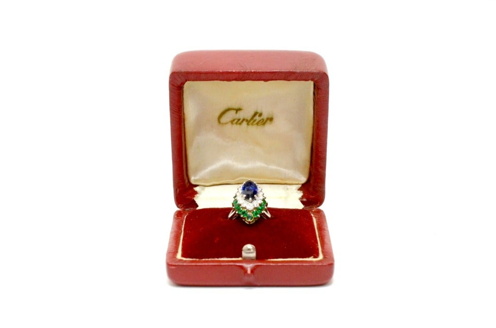 Cartier Sapphire Daimond And Emerald Ring Platinum & Yellow Gold Ring Circa 1960's Orginal Paper Work. 7