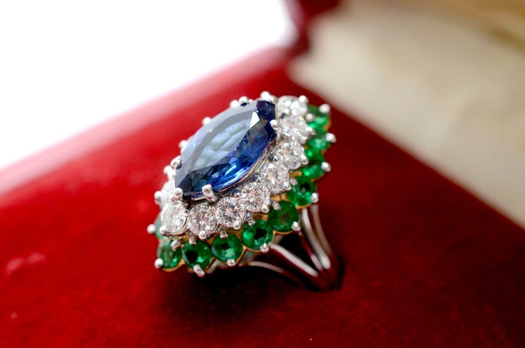 Cartier Sapphire Daimond And Emerald Ring Platinum & Yellow Gold Ring Circa 1960's Orginal Paper Work. 8