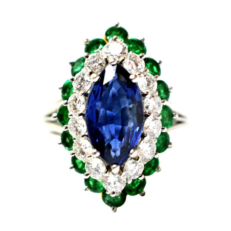 Cartier Sapphire Daimond And Emerald Ring Platinum & Yellow Gold Ring Circa 1960's Orginal Paper Work. 1