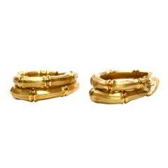 Cartier Heavy Yellow Gold Bamboo Hoop Earrings