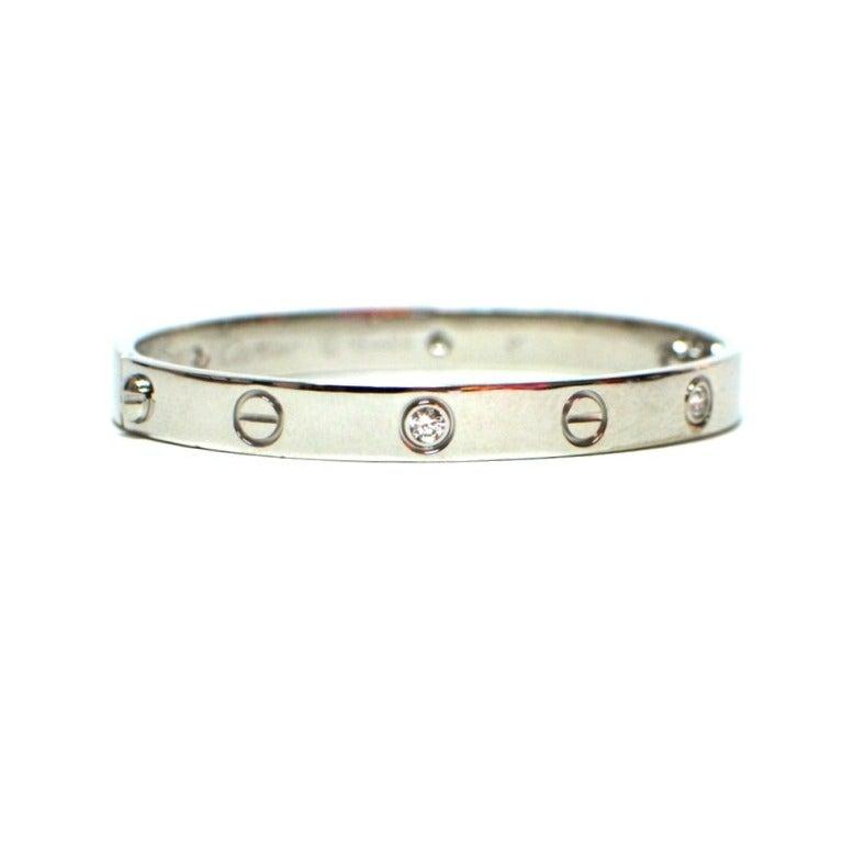 cartier 4 diamonds white gold bracelet size 16 at