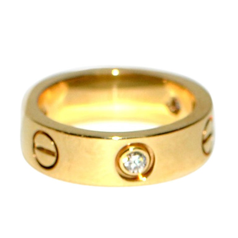 Cartier Yellow Gold 3 Diamond Love Band Ring. at 1stdibs