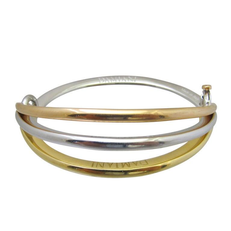 damiani tri color gold bracelet at 1stdibs