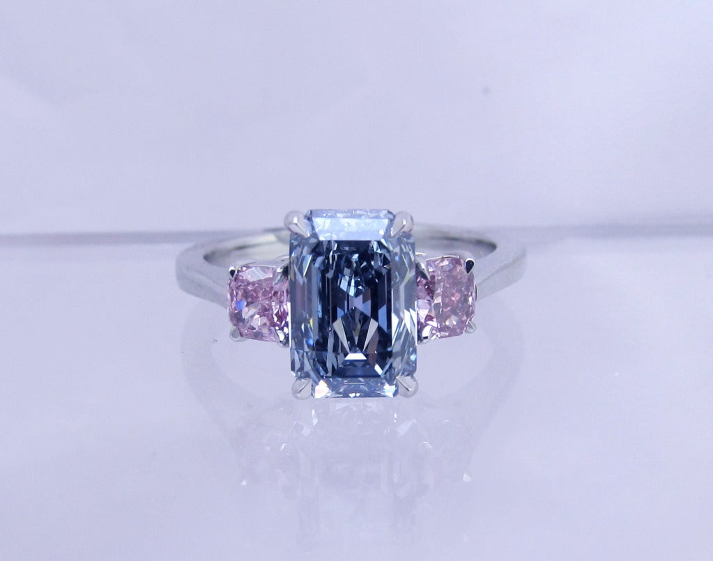 Rare Natural Fancy Intense Blue Diamond Ring G.I.A. at 1stdibs