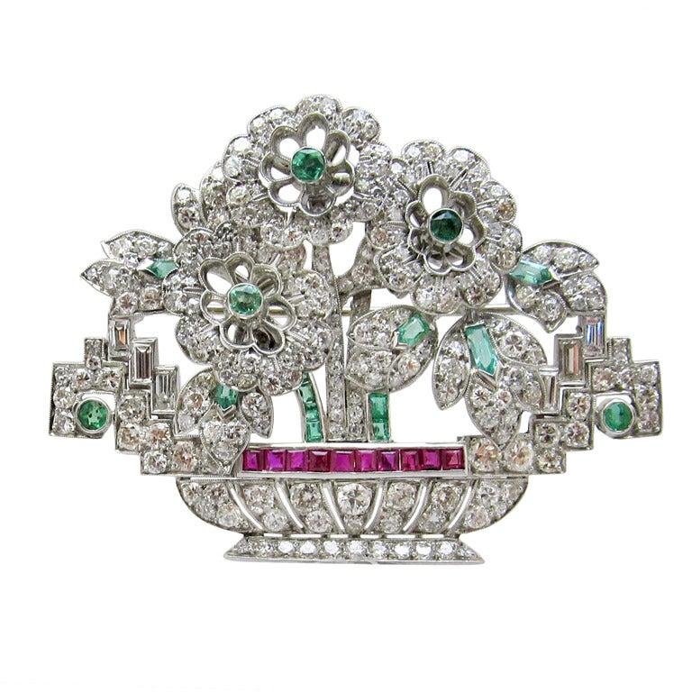 Art Deco Diamond Floral Brooch