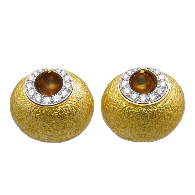 David Webb Diamond Gold Earrings For Sale