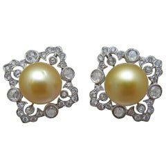 Gold Color Pearl Diamond Clip On Earrings
