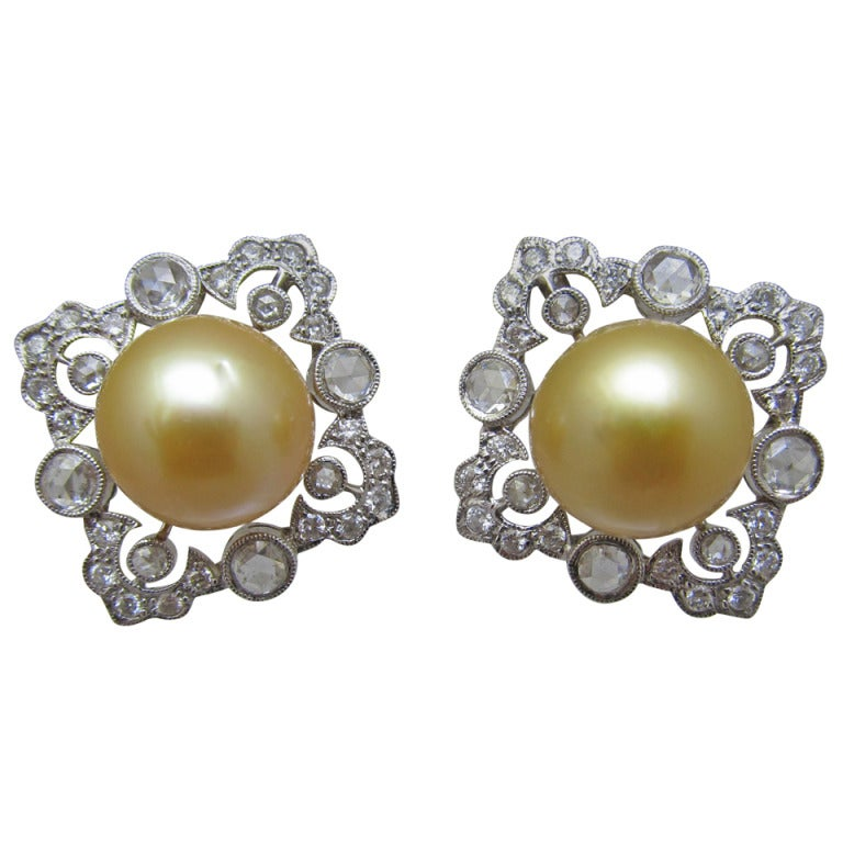 Gold Color Pearl Diamond Clip On Earrings at 1stdibs