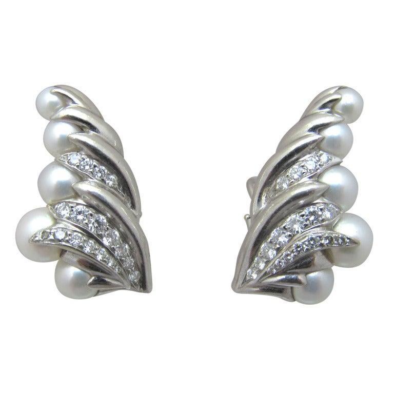 seaman schepps pearl earrings at 1stdibs